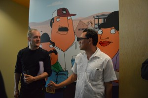 Mark Hentemann (left) and Gustavo Arellano (Right) at an episode screening of Bordertown by Fox