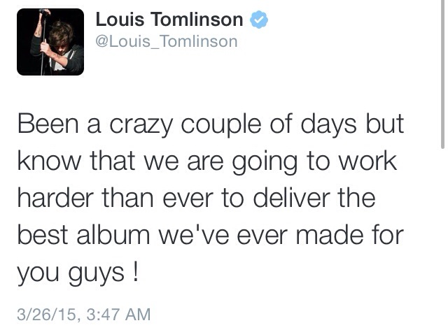 Band member Louis Tomlinson shares his thoughts to his 19 million Twitter followers.