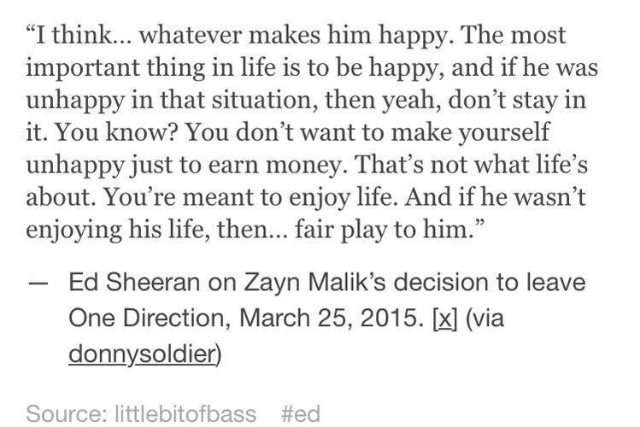 Fellow friend and co-songwriter to One Direction, Ed Sheeran, speaks his mind on Zayn's decision to leave the band.