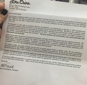 One of the many letters sent to Lime Crime customers.