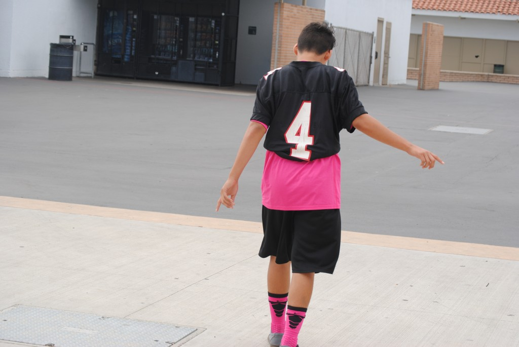 Both the freshmen and varsity football teams will be wearing pink in their games October 15. Photograph by Karli Stichter