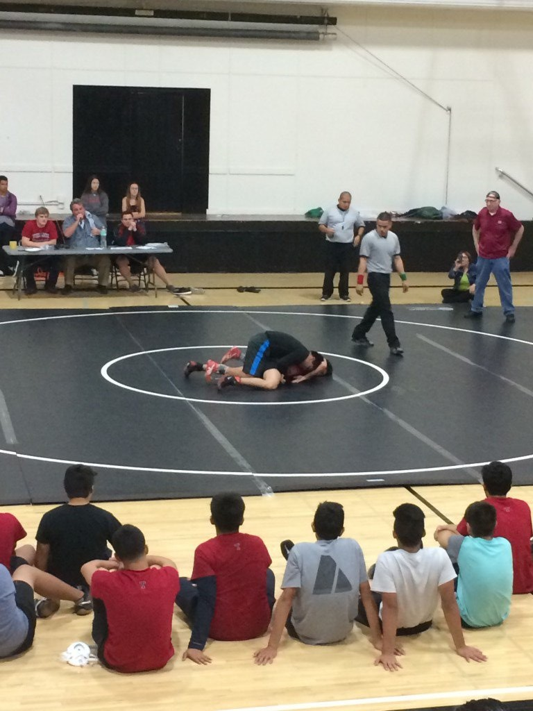 Andrew Longmore takes down Marco Piedrola in the featured match of the night. Photo by Katelyn Merrell