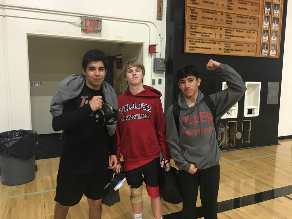 (From left to right) Carlos Garcia, Jack Gallager, and Jared Castorena hold their heads high after a hard fought match against Cypress.