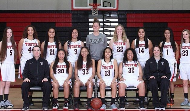 This year's girls' varsity basketball team smiling because they know they're gonna qualify for CIF.