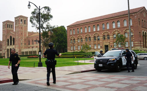 Police work at the scene of a shooting at the University of California, Los Angeles, Wednesday, June 1, 2016, in Los Angeles.(AP Photo/Christine Armario)