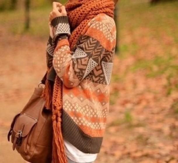 sgr7k8-l-610x610-sweater-orange-oversizedsweater-fall-fallsweater-fallfashion-scarf-aztec-bag-baggyscarf-oversizedcardigan-cardigan-autumn-comfy-autumnfallfashion
